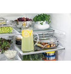 Our GE Profile Series Refrigerators have adjustable shelves that can accommodate taller items. Fit and access taller iced beverages like wine and glass pitchers with ease.