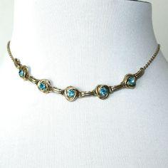 Vintage Aquamarine Sweetheart Choker Necklace.