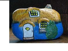 Blue Gnome Home painted rock