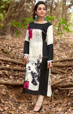 image of Cotton kurti design with full sleeve and knee length top for teen girl
