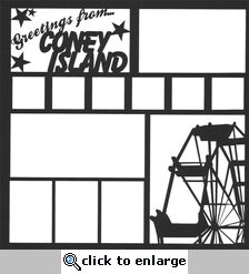 Greetings From Coney Island 12 x 12 Overlay Laser Die Cut