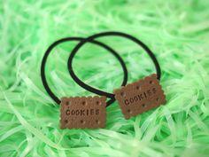 Kawaii Chocolate Cookies Hair Tie / Bown Chocolate Cookie Biscuit Ponytail Holder or Pigtails Elastic Hair Tie / Cute Pastel Grunge Clothing