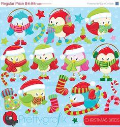80 OFF SALE Christmas birds clipart by Prettygrafikdesign on Etsy