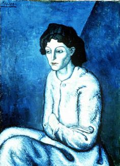 """Femme aux Bras Croises by Pablo Picasso. This painting was painted in 1901 by Pablo Picasso, the days of """"Blue Period"""" during which Picasso had """"darkness"""" and the sadness in his life. The beauty and blue in his paintings at that time is dominant. Kunst Picasso, Art Picasso, Picasso Blue, Picasso Paintings, Picasso Images, Sad Paintings, Picasso Style, Watercolor Paintings, Georges Braque"""