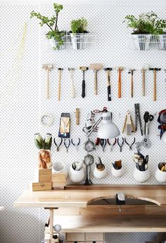 Pegboard storage in a home studio, Kim Victoria Jewels. Photo by Eve Wilson via The Design Files Garage pegboard and plywood Garage Organization Tips, Studio Organization, Organizing Ideas, Workbench Organization, Organising, Organizing Jewelry, Ikea Organization, Organizing Life, Garden Tool Storage