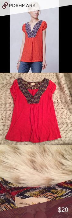Anthropologie Meadow Rue Embroidered Ikat Tee Meadow Rue by anthropologie size small red ikat tee! Romantic bohemian peasant top! Beautiful and in great condition! Anthropologie Tops Blouses