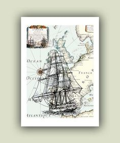 Frigate Print, 5x7 Print on old  Europe map, Nautical Art matte Print