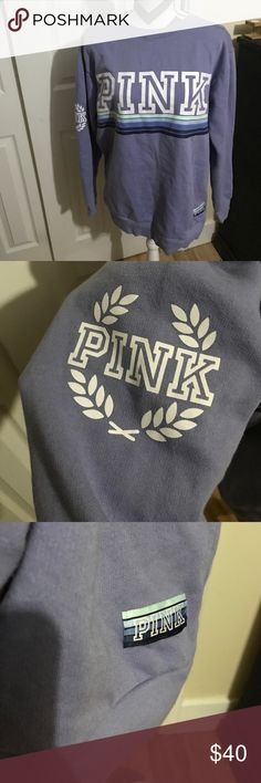 PINK SWEATER Periwinkle with blue purple and mint green stripes and white lettering...NEVER WORN!! Super cute size small BUNDLE AND SAVE!  PINK Victoria's Secret Tops Sweatshirts & Hoodies