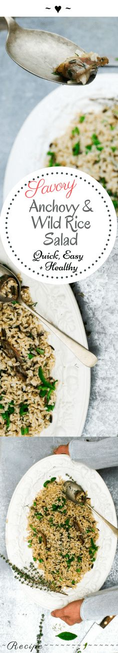 In honor of spring springing in the northern hemisphere, and the weather not too cold yet in the Southern one, I bring to you anchovy wild rice salad. : ) This salad is pretty fill… Slaw Recipes, Entree Recipes, Seafood Recipes, Healthy Recipes, Sweets Recipes, Wild Rice Salad, Recipes From Heaven, Group Meals, Stuffed Green Peppers