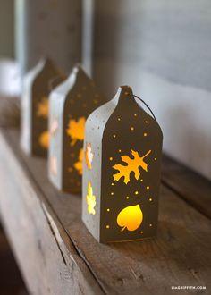 DIY Leaf Cutout Paper Lanterns for Fall