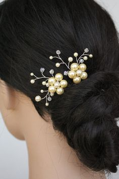 Ivory Pearl Floral Bridal Hair Pins A. by ForTheStar on Etsy