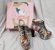 Jeffrey Campbell Lita Tiger Print Wood Heels 7 7M Shoes  NEW  Retail $189 #JeffreyCampbell #PlatformsWedges