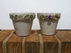 Hand Painted Clay Pots Sunflower and Rose by LisasPaintedCrafts