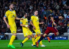 Luis Suarez of FC Barcelona celebrates after scoring his team's second goal during the UEFA Champions League Group E match between FC Barcelona and FC BATE Borisov at the Camp Nou on November 4, 2015 in Barcelona, Catalonia.