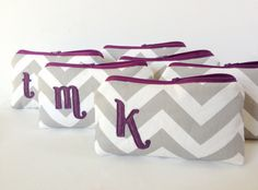 Four Plum & Grey Monogrammed Makeup Bridal Bags, Gray Chevron Eggplant Purple Letter, Bridesmaids Gift Wedding Party Fall Favor Set
