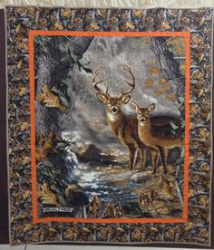 Deer panel lap quilt made by Cotton Treasures
