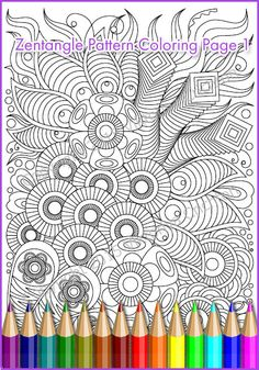 Printable Coloring Page Zentangle Pattern, PDF, zendoodle, coloring sheet
