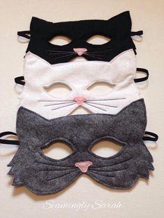 Black Cat Costumes, Up Costumes, Cat Costume Kids, Cat Mask, Creation Couture, Felt Cat, Halloween Disfraces, Halloween Masks, Mask For Kids