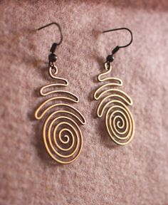 Spiral Wire Wrapped Brass Earrings by Hvitolg on Etsy