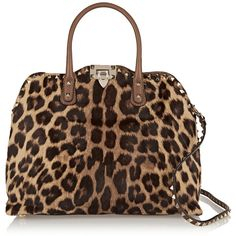 Valentino Studded leopard-print calf hair shoulder bag ($1,310) ❤ liked on Polyvore featuring bags, handbags, shoulder bags, animal print, calf hair handbag, leopard purse, leopard handbag, animal print purses and brown studded handbag