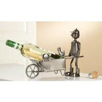 Wijnfleshouder/ bierfleshouder Boer met kar, varken en haan