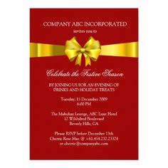 Shop Holiday Gold Ribbon Illustration Corporate Party Invitation created by thepapershoppe. Holiday Party Invitation Template, Christmas Party Invitations, Invitation Templates, Invitation Paper, Custom Invitations, Christmas Stationery, Party Photography, Gold Ribbons, Create Your Own Invitations