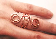 Wire Wrapped Adjustable Copper Ring  Handmade by GearsFactory, €13.00