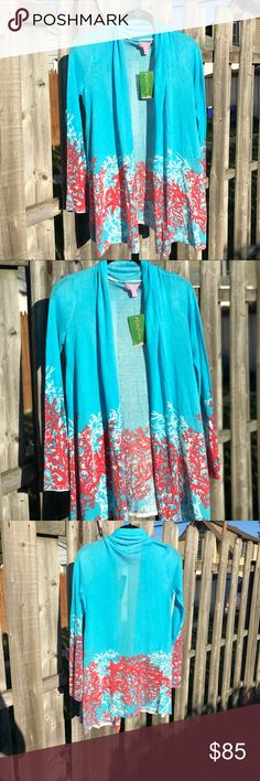 NWT...Lilly Pulitzer Connell Cardigan Size X-Small NWT...$198 Lilly Pulitzer Connell Wrap Cardigan in a Tropical Starfish and Coral Print Size X-Small Lilly Pulitzer Sweaters Cardigans