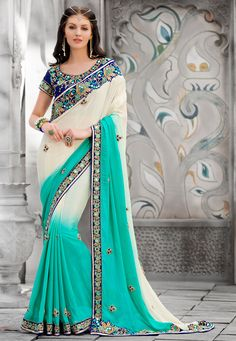 #Saree in Shaded Off White
