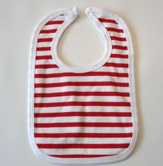 Red and White Striped Bib embroidery by ellegarrettdesigns on Etsy