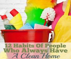 The habits of people who always have a spotless house may surprise you. What's your favorite cleaning habit? From A Debt Free Stress Free Life. House Cleaning Tips, Deep Cleaning, Spring Cleaning, Cleaning Hacks, Cleaning Schedules, Cleaning Solutions, Diy Hacks, Cleaning Supplies, All You Need Is