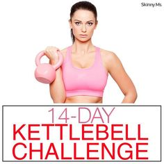 """14-Day Kettlebell Challenge Beginner's Level: 2 rounds Intermediate Level: 3 rounds Advanced Level: 4 rounds  Exercises:  1. Bent Over Row 2. Sumo Squat + Curl 3. Russian Twist 4. Snatch 5. Windmills 6. """"Loopy Lunge"""" Swing Through"""