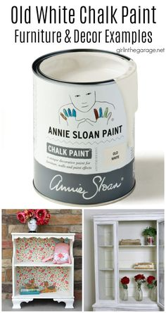 Beautiful painted furniture ideas in Old White Chalk Paint by Annie Sloan. Dressers, vanities, bookcases, cabinets, and more. By Girl in the Garage Chalk Paint Mirror, Chalk Paint Colors, Mirror Painting, White Chalk Paint, Chalk Paint Furniture, Diy Furniture Projects, Painting Cabinets, Annie Sloan Chalk Paint Projects, Annie Sloan Paints