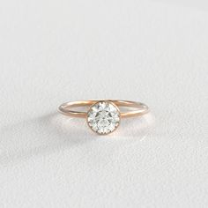 6.5mm Moissanite Engagement Ring Bezel Setting by SKindCo