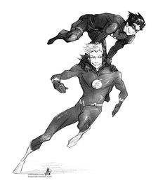 Nightwing and The Flash go go go! by croaky on deviantART