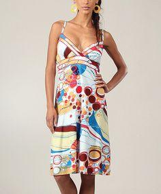 Look at this #zulilyfind! White & Yellow Circles Surplice Dress by Aller Simplement #zulilyfinds