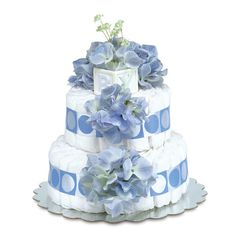 Bloomers Baby Diaper Cake-Classic Blue Hydrangeas with Blue Circles - Small 2-Tier