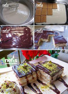 Çikolata Soslu Labneli Bisküvi Tatlısı