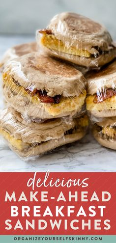 Frozen breakfast sandwiches are incredibly easy to make ahead and ensure you start your day right, rather than grabbing a fast-food breakfast. Not only will you eat healthier, but you'll save money too. Make a batch of sandwiches for the week or stock up the freezer for the entire month. Organize Yourself Skinny Healthy Meal Prep Recipes | Easy Breakfast Recipes | Healthy Weight-Loss Recipes Fast Food Breakfast, Frozen Breakfast, Make Ahead Breakfast Sandwich, Breakfast Sandwiches, Healthy Breakfast Recipes, Lunch Recipes, Breakfast Ideas, Healthy Freezer Meals, Easy Meals