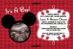 Printable Mickey Mouse Inspired Baby Shower  4x6 or 5x7 Invitation