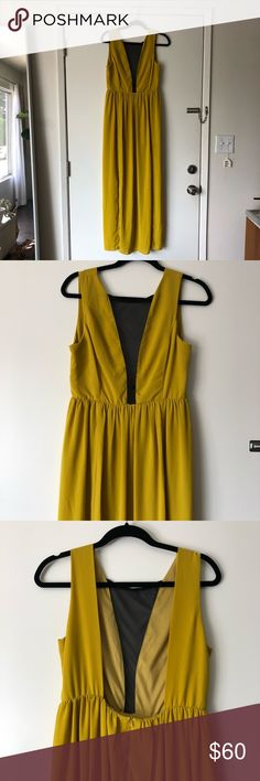 NASTY GAL // marigold maxi dress brand new, never worn maxi dress with sheer black front panel, and slots on both sides. size large which would likely fit an 8-10 as well. Nasty Gal Dresses Maxi