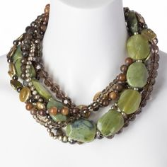 """""""Pile on the Pretty"""" 7-Strand Jade & Crystal Necklace - Cyber Sale - Sale - Tuesday's Treasures 