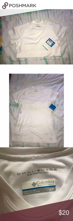 Columbia Omni-shade shirt NWT White Columbia Omni-shade sun protection shirt. Size small. Lycra and polyester. Built-in shelf bra. Omni-shade is UPF 50! Brand new with tags. Columbia Tops