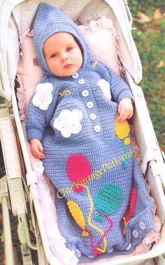 Babies Sleeping Bag ... Hooded Crochet by ChicVintagePatterns