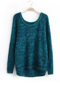 Blue Plain Asymmetric Long Sleeve Synthetic Fiber Sweater
