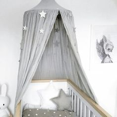 Give a sense of royalty to your kid's room with this gorgeous white canopy curtain topped with a crown. Canopy Over Crib, Cot Canopy, Canopy Curtains, Grey Curtains, Gray Bedroom, Kids Bedroom, White Canopy, White Nursery, Baby Room Decor