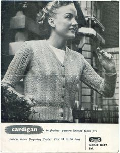 Vintage knitting Pattern  Ladies Feather by TheBrightonEmporium