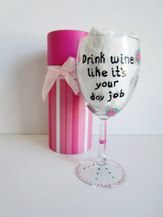 funny wine glass hand painted wine glass with by Tanyagrub on Etsy