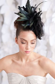 amazing black fleur cocktail hat