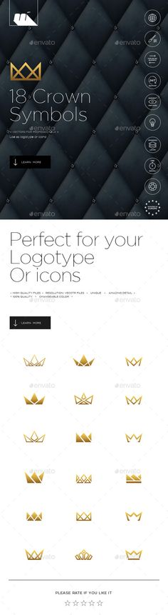 Minimalistic Crowns Symbols — Vector EPS #history #logotype • Available here → https://graphicriver.net/item/minimalistic-crowns-symbols/6785731?ref=pxcr